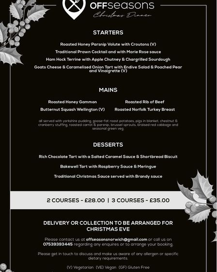 The Christmas menu for OffSeasons roast delivery service Picture: OffSeasons