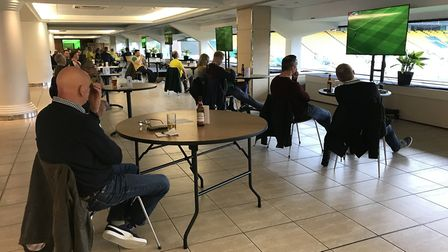 Carrow Road open up two lounges for a handful of Norwich City fans to watch a socially-distanced liv