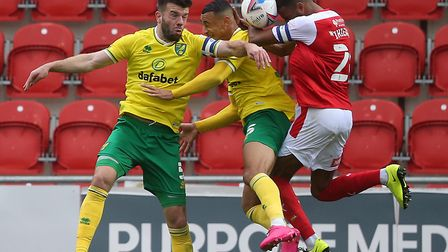Grant Hanley led from the front on his return to the Norwich City line up at Rotherham Picture: Paul