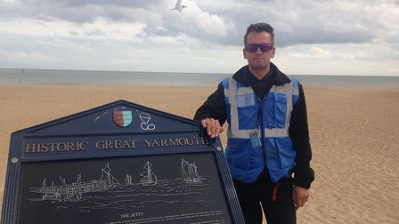 Chris Church, standing at the jetty by the Marina Centre on the seafront. He ran here to look out ac