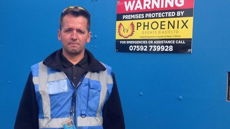 Chris Church, security officer at Pheonix Events (East), standing outside Marina Centre in Great Yar