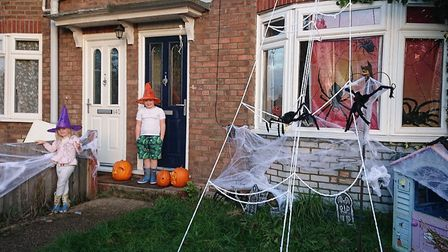 Rosy Jackson has organised the Norwich Pumpkin Trail, this is her house in Motum Road and her childr