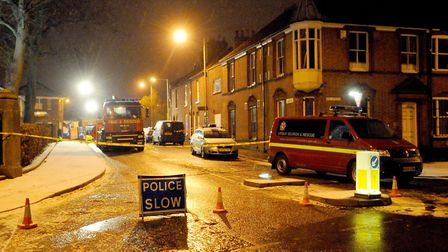 Police and the fire service at Finkelgate on Christmas Eve 2010, when the problem first emerged. Pic