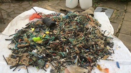 The plastic haul collected from the beach between Eccles and Sea Palling by Sarah Lloyd. Picture: Sa