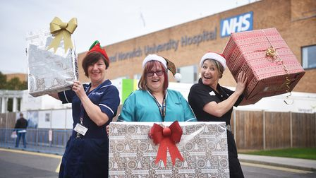 Send a Smile for Santa at the Norfolk and Norwich University Hospital. Paula Mellor, Bea Smith and E