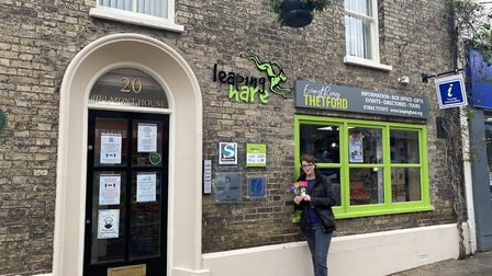 Corinne Fulford from the Leaping Hare information hub in Thetford's town centre. Photo: Emily Thomso