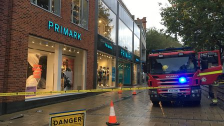 The cordoned off area on Haymarket, Norwich, where smoke was seen coming from a manhole on October 8