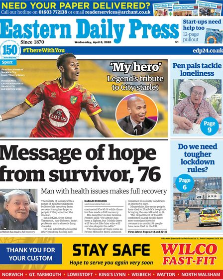 EDP front from 8 April 2020. Picture: Archant
