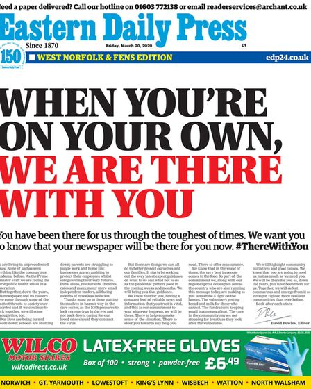 EDP front from 20 March 2020. Picture: Archant