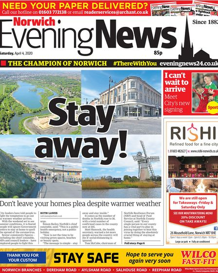 Norwich Evening News front from 4 April 2020. Picture: Archant