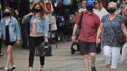 Shoppers out in force wearing masks in Norwich city centre. Picture: DENISE BRADLEY