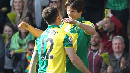 Timm Klose's first goal for Norwich came in April 2016, heading in a Robbie Brady free-kick during a