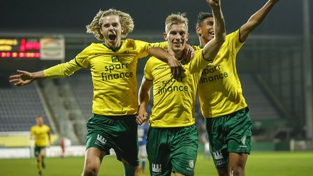 Todd Cantwell, left, in loan action for Fortuna Sittard. Picture: Ivo Delahaye