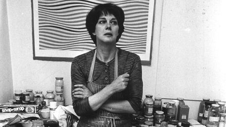 26th July 1979: British painter and leading figure in the Op Art movement Bridget Riley standing in