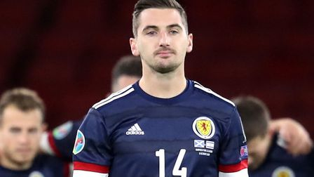 Kenny McLean stepped up to take the crusial penalty for Scotland against Israel Picture: Andrew Mill