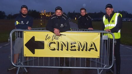 Pop Up Pictures' drive-in cinema at the Norfolk Showground - (L-R) Chris Burrup, Danny Banthorpe, Ji