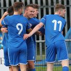 Celebrations after Kirkley & Pakefield's late winner as they triumphed 4-3 over Long Melford at Walm