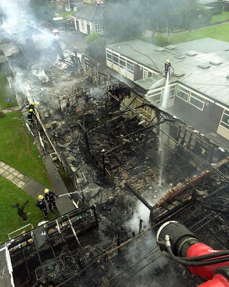 Catton Grove middle school as the fire was damped down. Photo: Bill Smith een 8/8/01