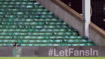 Getting the #LetFansIn message across at Carrow Road on Saturday Picture: Paul Chesterton/Focus Imag