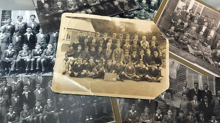 Priory School reunion at Time and Tide Museum, Great Yarmouth. Old class photographs.
