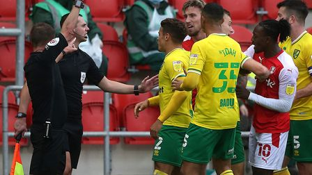 Angus MacDonald was red carded for a lunge on Norwich City midfielder Olly Skipp Picture: Paul Chest