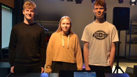 Events management and production students Charlie Stelling, Lottie Middleton, and Alex Whall. Pictur