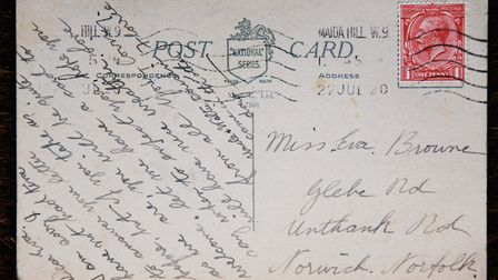 The postcard from Eva to cousin Florrie, which arrived at a property in Norwich 100 years after bein