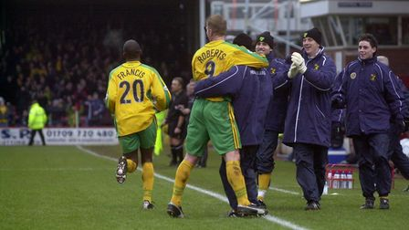 Happy days at Millmoor - celebrating a goal in 2004 Picture: Archant