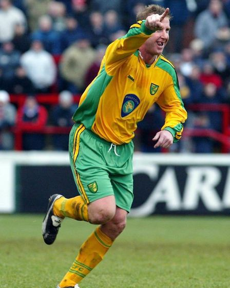 Iwan Roberts after scoring at Millmoor in January, 2004 Picture: PA