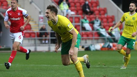 Jordan Hugill scored his first Norwich City goal when converting an injury-time winner from the pena