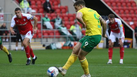 Jordan Hugill rolls the penalty home to give all three points to City at Rotherham. Picture: Paul Ch