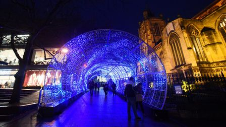 Norwich Christmas lights. The Tunnel of Light. Picture: DENISE BRADLEY