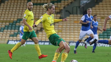 Todd Cantwell was denied in the first half on his comeback for Norwich City Picture: Paul Chesterton