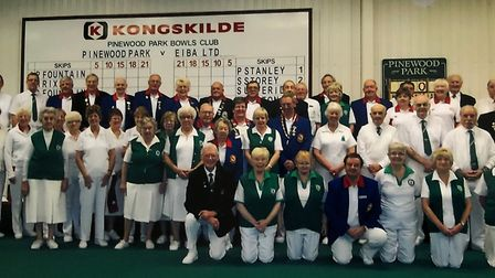 Indoor bowlers of Pinewood Park Indoor Bowls Club in Upper Sheringham, which later became Woodlands