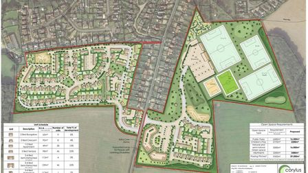 The masterplan for the proposed 185-home, sports and care development off Roughton Road in Cromer. I
