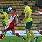 Norwich City striker Teemu Pukki first half shot was deflected wide in the first half against Millwa
