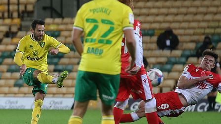 Lukas Rupp tries his luck in the first half of Norwich City's 0-0 Championship draw against Millwall