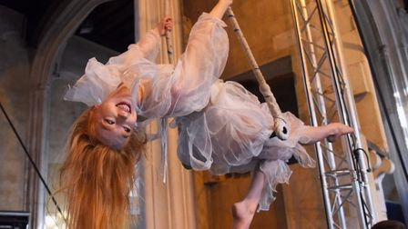 Danielle Summers on the trapeze during the Lost in Translation rehearsals of Circus Carol. Picture: