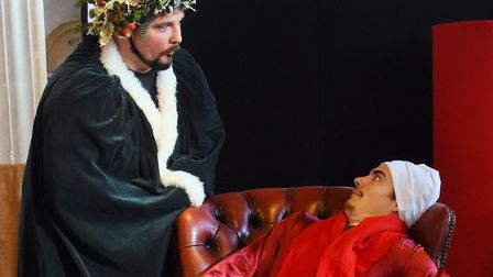 Massi Rossetti, left, as Christmas Present, and Lawrence Swaddle as Scrooge during the Lost in Trans