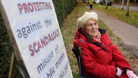 Annie Holgate holding a protest against Norwich City Council's revamp of Heigham Park's tennis court