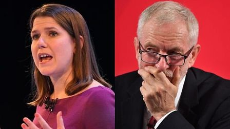 Jo Swinson and Jeremy Corbyn. Photograph: PA.