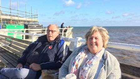 Pat and Alan Nixon enjoying the last day before lockdown on Cromer pier. Picture: staff
