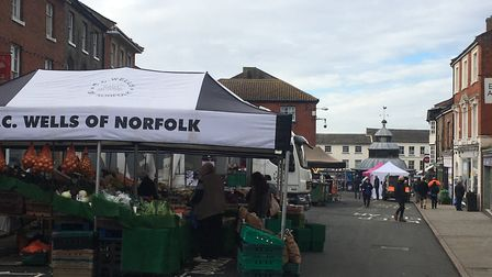 North Walsham's Market Place as quieter than usual following the start of the second coronavirus loc