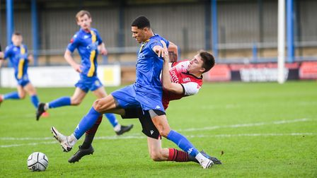 Striker Kairo Mitchell is cup-tied for King's Lynn Town's trip to Port Vale Picture: Ian Burt