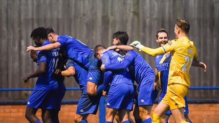 That winning feeling as King's Lynn Town players celebrate Jama Lozar's winner against Woking a week