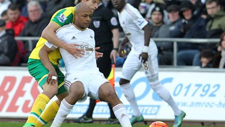 Swansea City striker Andre Ayew has scored seven in 13 games for club and country this season Pictur