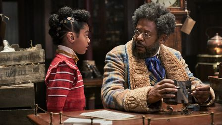 Madalen Mills as Journey Jangle and Forest Whitaker as Jeronicus Jangle in Jingle Jangle. Picture: G