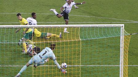 Tim Krul foils Andre Ayew in Norwich City's 1-0 Championship win over Swansea City Picture: Paul Ch