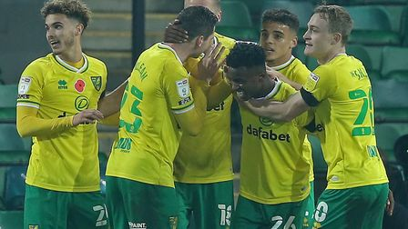 Norwich City's players celebrate Marco Stiepermann's strike against Swansea Picture: Paul Chesterton