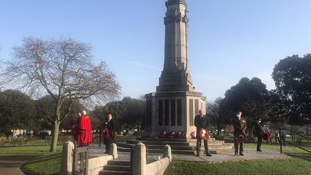 A wreath-laying ceremony was attended by a small group of dignitaries in Great Yarmouth on November